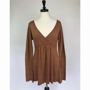 Michael Stars Coppery Brown Bell Sleeve Mini Dres